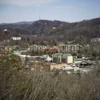 View of the Village of Gatlingburg, Tennessee in the mountains