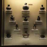 Relics and Pots in display case at Tennessee Museum