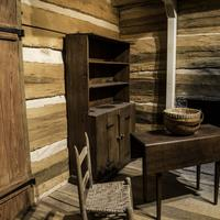 Shelves and furniture in frontier house in Tennessee Musuem