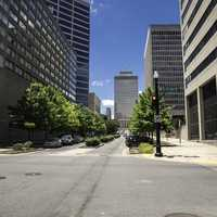 Streets of Nashville with buildings on the side