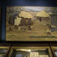 Woodland Indians houses painting in Nashville