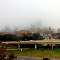 Highway and Skyline in Dallas, Texas