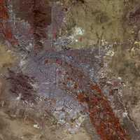 False-color satellite image of El Paso, Texas