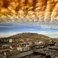 Red Clouds above the city of El Paso, Texas
