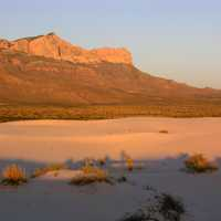 Moon over the mountains and dunes at Guadalupe Mountains National Park