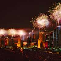 Fireworks above the skyline of Houston, Texas