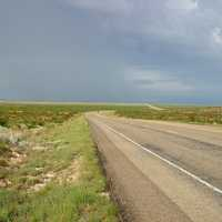 Roadway and landscape in Western Texas