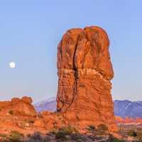 Moonrise over Balanced Rock at Arches National Park