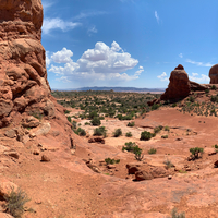 Panoramic desert view with rock formations