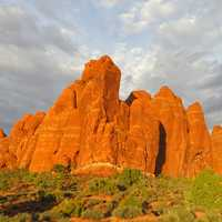 Rock and Hill Formations under clouds at Arches National Park