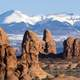 Rock and Mountains in the landscape in Arches National Park