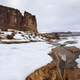 Slushy river landscape in the winter with snow in Arches National Park