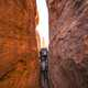 Tight Squeeze through the cliffs in Arches National Park