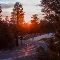 Roadway through the sunset at Bryce Canyon National Park, Utah