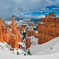 Winter Landscape with Thor's Hammer in Bryce Canyon National Park, Utah