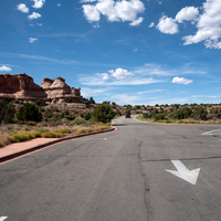 Road through Canyonlands National Park under the blue sky