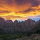 Dusk and sunset skies over Zion National Park, Utah