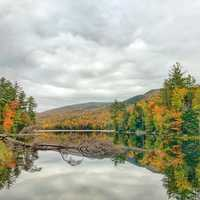 Beautiful autumn lake landscape in Vermont
