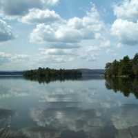 Eagle lake landscape with clouds and water