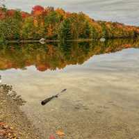 Water and autumn landscape in Vermont