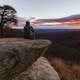 Person Watching Sunrise at Hazel Mountain overlook at Shenandoah National Park