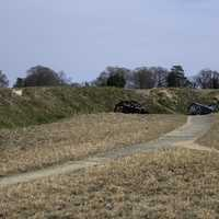 Cannons in the Trenches in Yorktown, Virginia