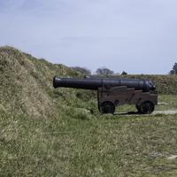 Large Cannon in the American trenches in Yorktown, Virginia