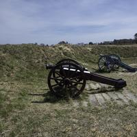 Siege Cannons in the American Trenches at Yorktown, Virginia