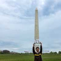 Campaigning in front of the Washington Monument