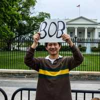 Campaigning in front of the white house