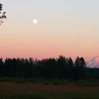 Dusk landscape view with moon of Mount Rainier National Park, Washington