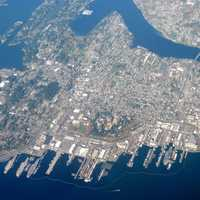 Aerial view of the city with Puget Sound Naval Shipyard in Washington