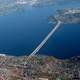 Aerial view of the Interstate 90 floating bridge in Mercer Island, Washington