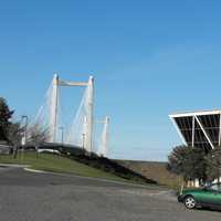 Cable Bridge, Lampson Corporate headquarters, and Tri-Cities Vietnam Memorial in Kennewick, Washington