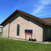 Exterior view of straw bale library in Mattawa, Washington