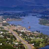 Landscape and overview of Rock Island, Washington