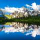 Picture Lake reflections landscape around Mount Baker, Washington