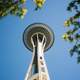 Looking up at the Space Needle in Seattle, Washington