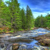 Beautiful River Landscape at Amnicon Falls State Park, Wisconsin