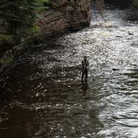 Fishing at the falls at Amnicon Falls State Park, Wisconsin