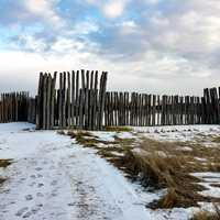 Fence surrounding Biggest Mound at Aztalan State Park, Wisconsin