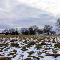 Snowy fields at Aztalan State Park, Wisconsin