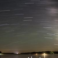 Star Trails over lake Namekagon in Chequamegon National Forest, Wisconsin