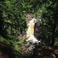 Far view of Brownstone Falls at Copper Falls State Park, Wisconsin