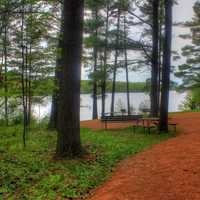 Hiking Path to the picnic path at Council Grounds State Park, Wisconsin