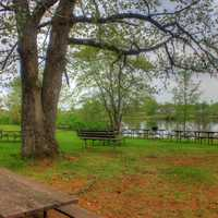Picnic Area by the lake at Council Grounds State Park, Wisconsin