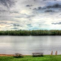 View across the lake with clouds at Council Grounds State Park, Wisconsin