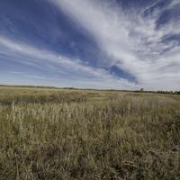 Grassland and Marsh landscape under sky and clouds at Crex Meadows
