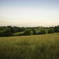 Grassland, landscape, and homestead at Cross Plains State Park