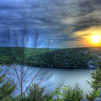 Fading sun over hills at Devil's Lake State Park, Wisconsin